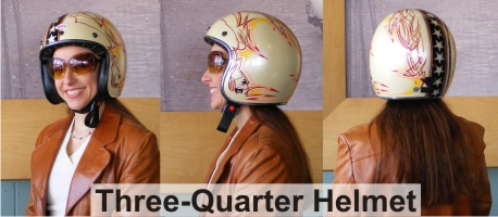 Three Quarter or Open Face Motorcycle Helmet Camille Ramirez-Smith model