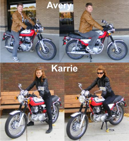 Avery Harrington and Karrie Vrabel on SYM Wolf Classic 150 Motorcycle