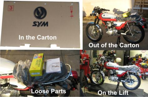 SYM Wolf Classic 150 Motorcycle shipping carton