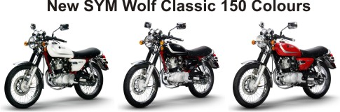 SYM Wolf Classic 150cc Motorycle NEW 2012 Colours